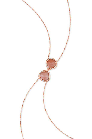 Jacquie Aiche body chain in 14k gold with peach moonstone