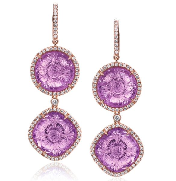 Rina Limor Designs carved amethyst drop earrings