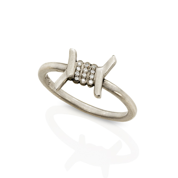 Barbed Wire stacking ring in platinum with diamonds by Wendy Brandes