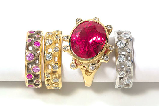 Orchid rings in 18k gold with sapphires and diamonds from Mimi So's Wonderland jewelry collection