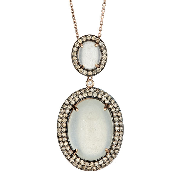 Sabrina Designs moonstone and champagne diamond pendant