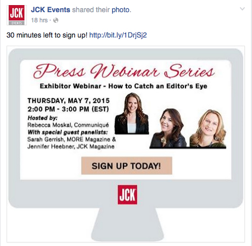 "An online promo from JCK Events touting its ""How to Catch An Editor's Eye"" event held yesterday."