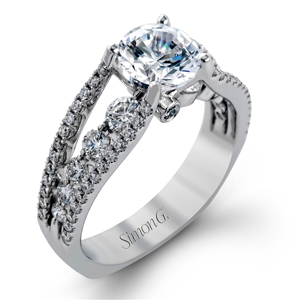 Simon G split-shank diamond engagement ring