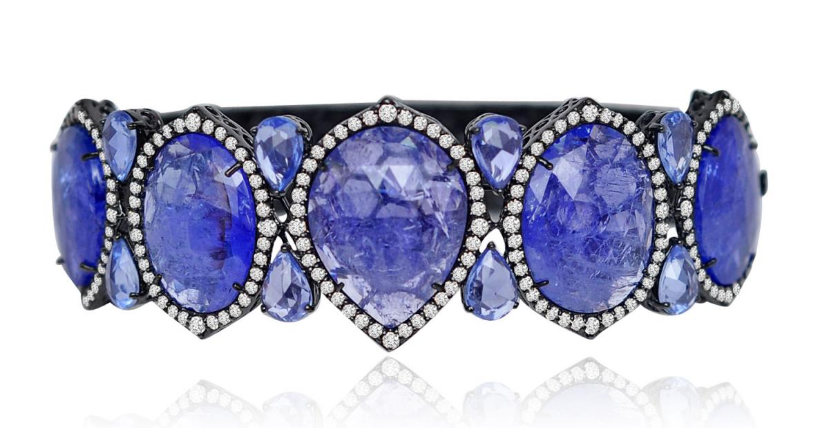 Sutra tanzanite and diamond blackened bracelet