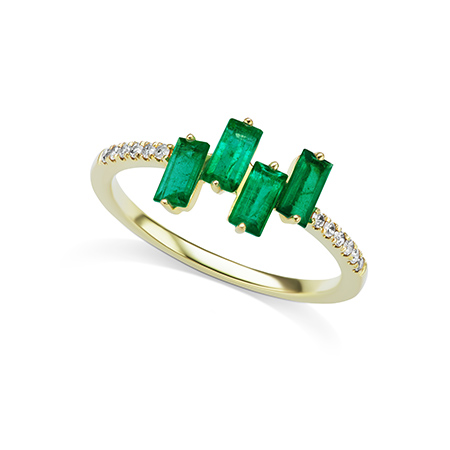 Jen s Obsession Meira T s Gold and Baguette Cut Emerald Ring JCK