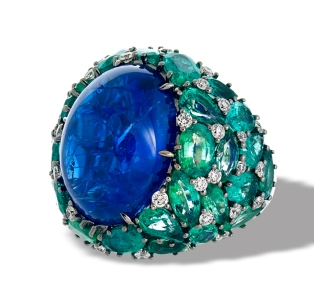 Sofragem tanzanite and emerald cocktail ring