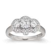 Courtesy Of Gemesis Diamond Company Vintage Style Three Stone Wedding Ring In 18k White Gold With 0 20 Cts T W Lab Created Diamonds