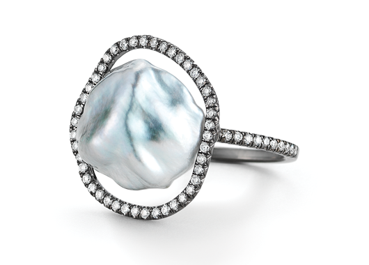 Ring in 18k gold with a Tahitian keshi pearl and 0.35 ct. t.w. diamonds; $5,300; Savannah Stranger at MUSE, NYC;  212-463-7950; savannahstranger.com