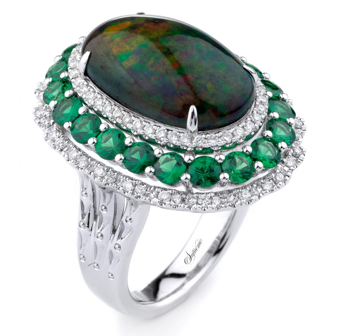 Supreme Jewelry opal and tsavorite ring