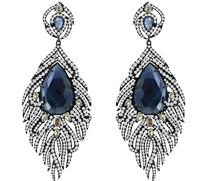 Sutra sapphire and diamond feather earrings