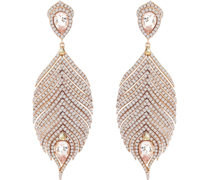 Sutra morganite feather earrings