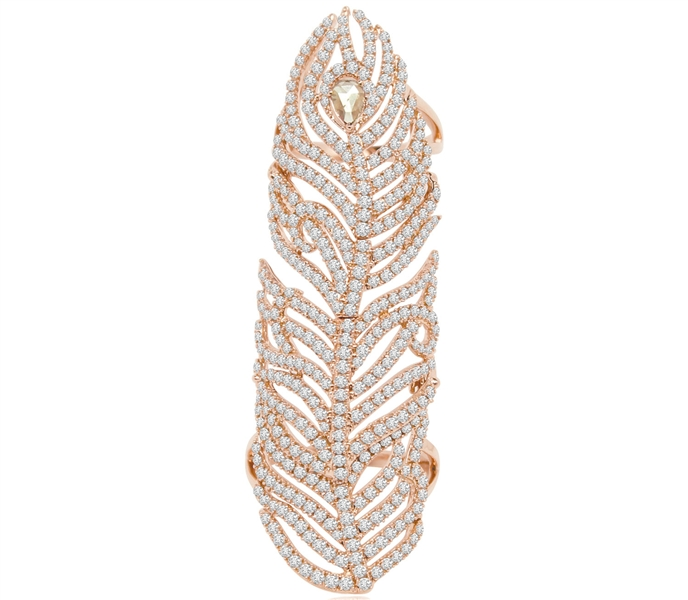 Sutra diamond feather ring