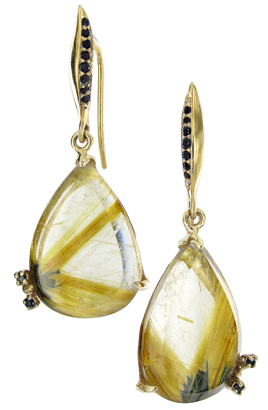 Rutilated quartz, gold, and black diamond earrings by Vicente Agor