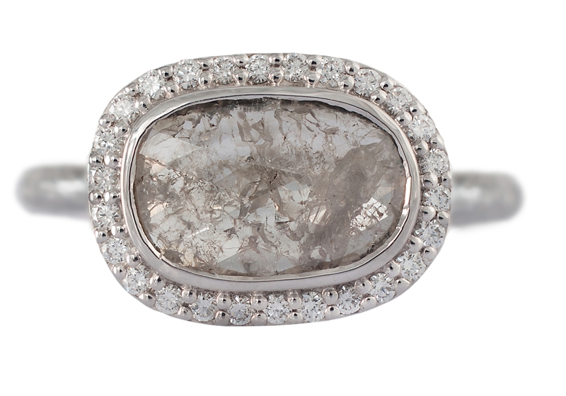 Susan Wheeler grey rustic diamond ring