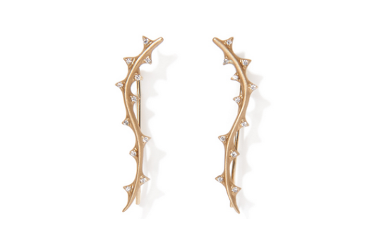 Thorn Vine ear climber in 14k gold with 0.11 ct. t.w. diamonds; $1,745; Michelle Fantaci at MUSE, NYC; 866-301-6873; michellefantaci.com