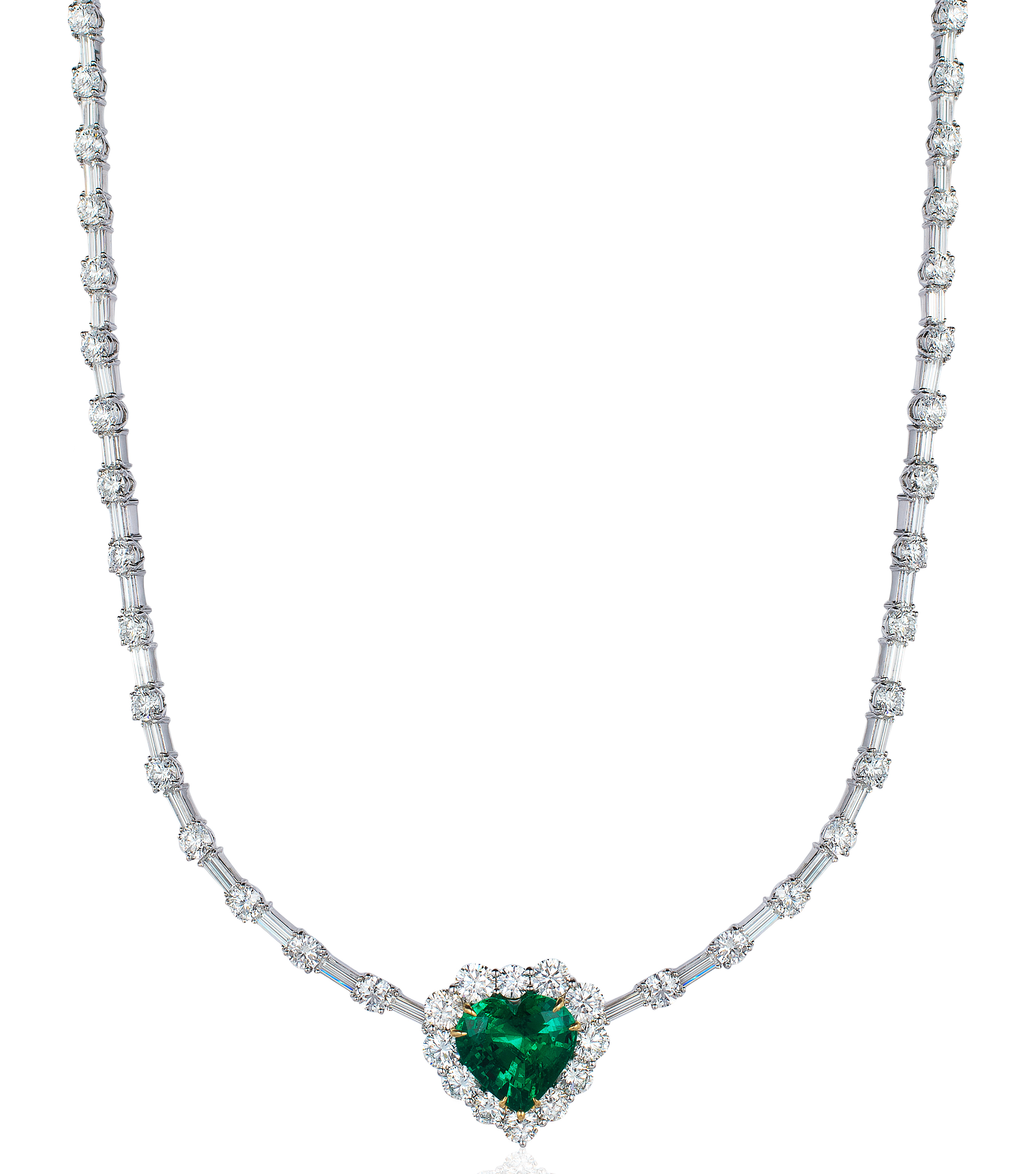 David Mor emerald heart and diamond necklace | JCK On Your Market