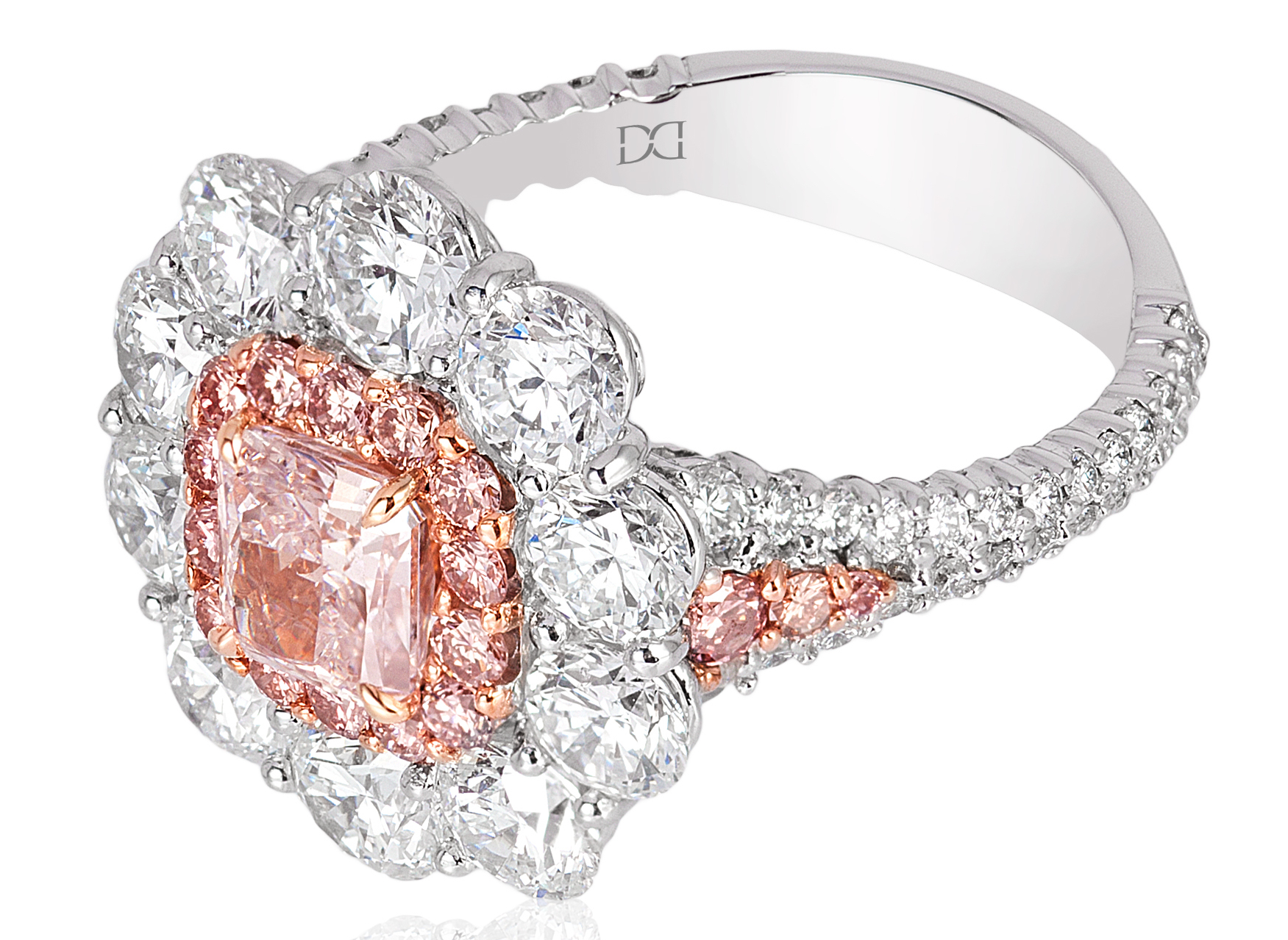 David Mor platinum pink and white diamond ring | JCK On Your Market