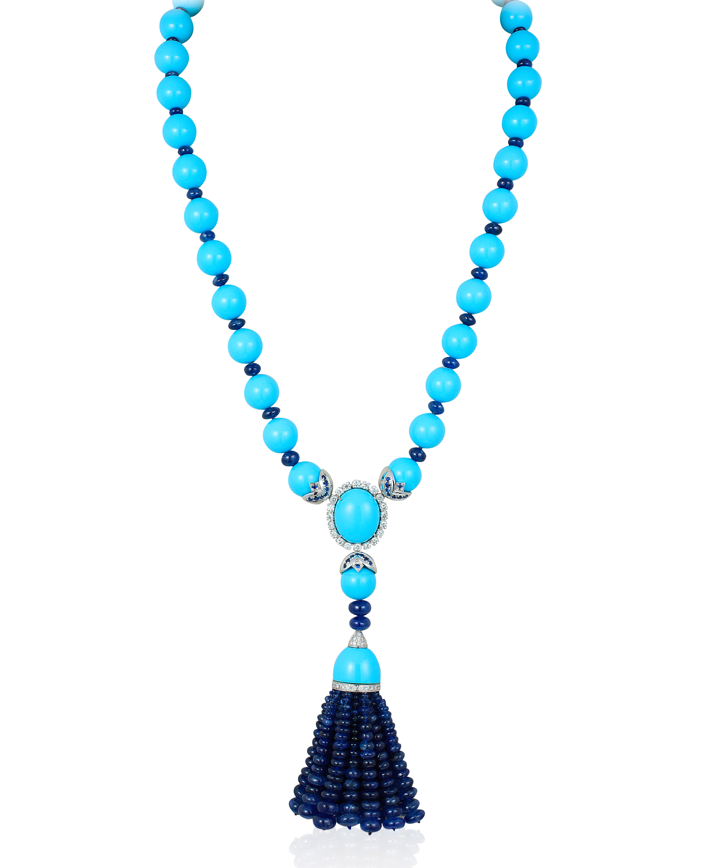 Andreoli turquoise and sapphire tassel necklace| JCK On Your Market
