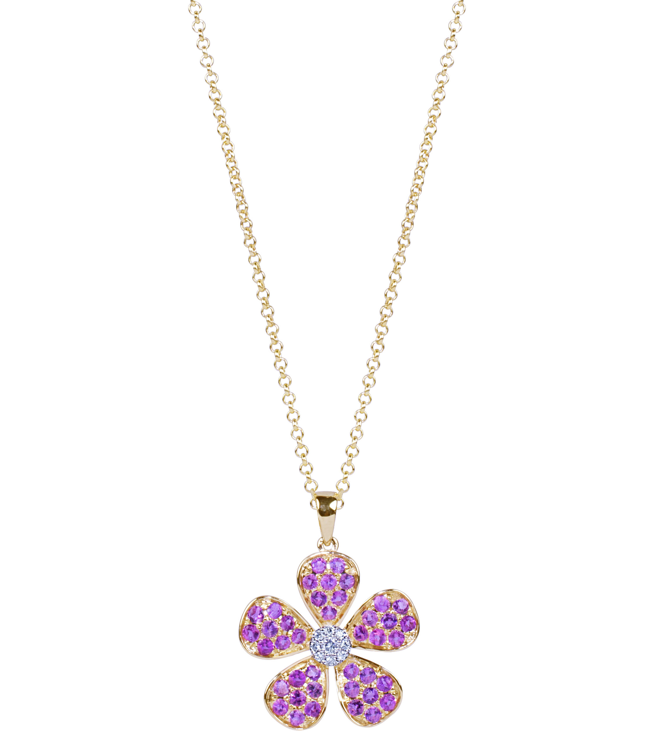 JewelMak pink tourmaline and diamond flower pendant | JCK On Your Market