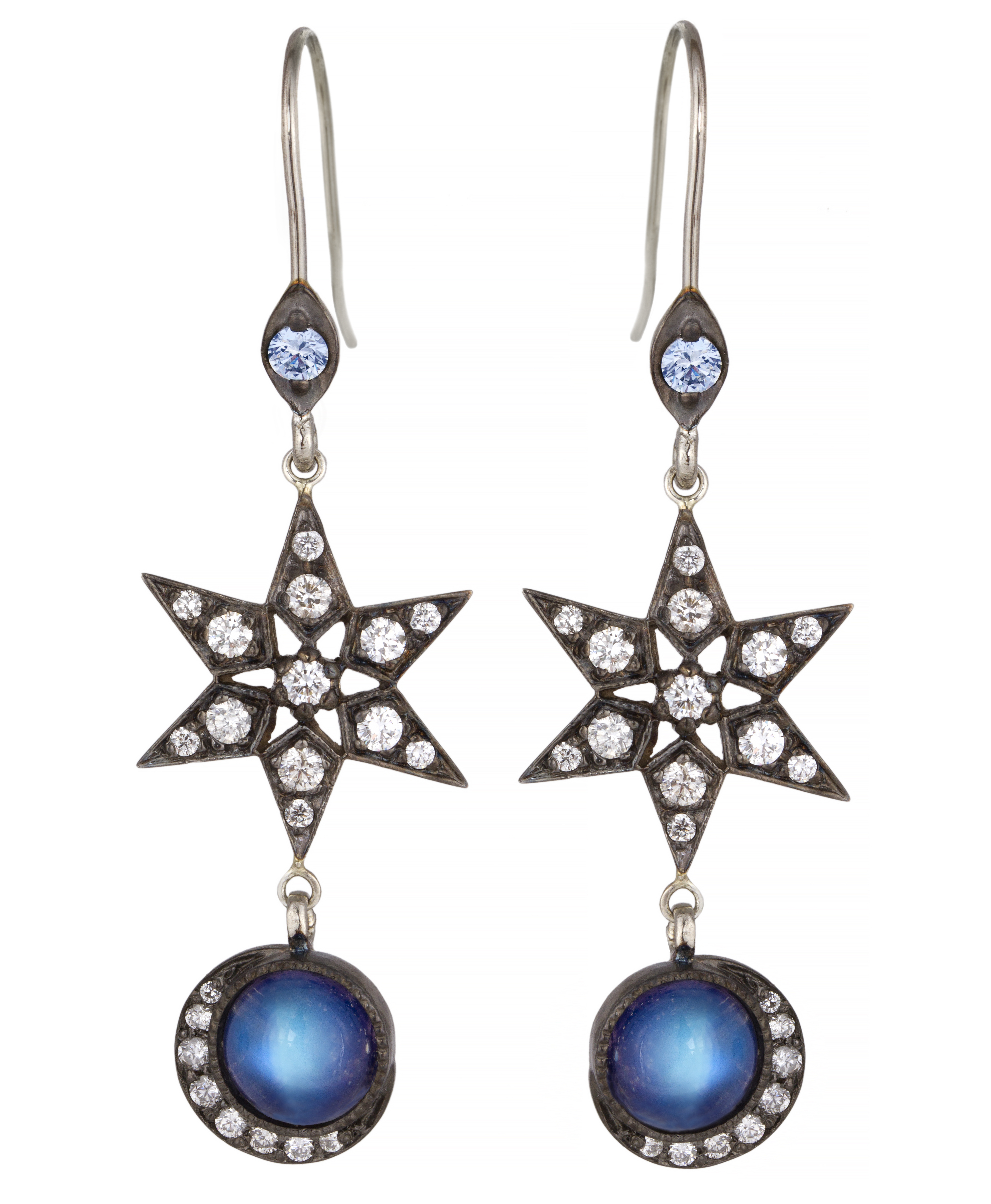 Blackbird and the Snow moonstone Celestial Star drop earrings