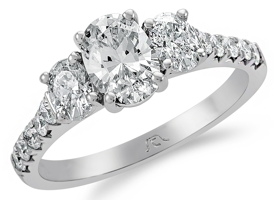 SES Creations three-stone oval diamond engagement ring | JCK On Your Market