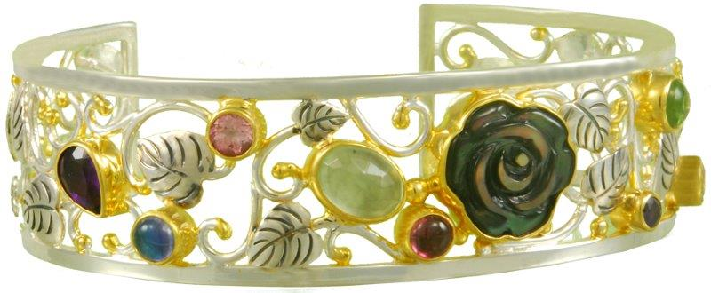 Michou floral gemstone cuff bracelet | JCK On Your Market