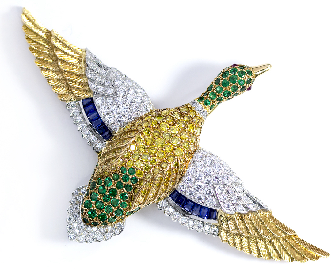 Oscar Heyman gemstone duck brooch | JCK On Your Market