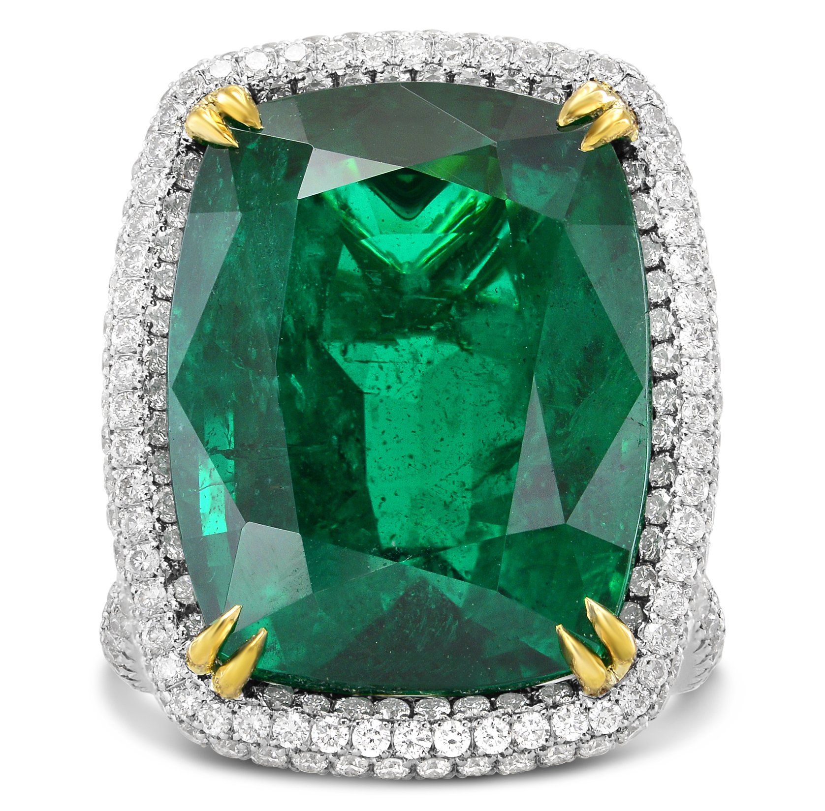 Leibish and Co. for Gemfields cushion emerald ring | JCK On Your Market