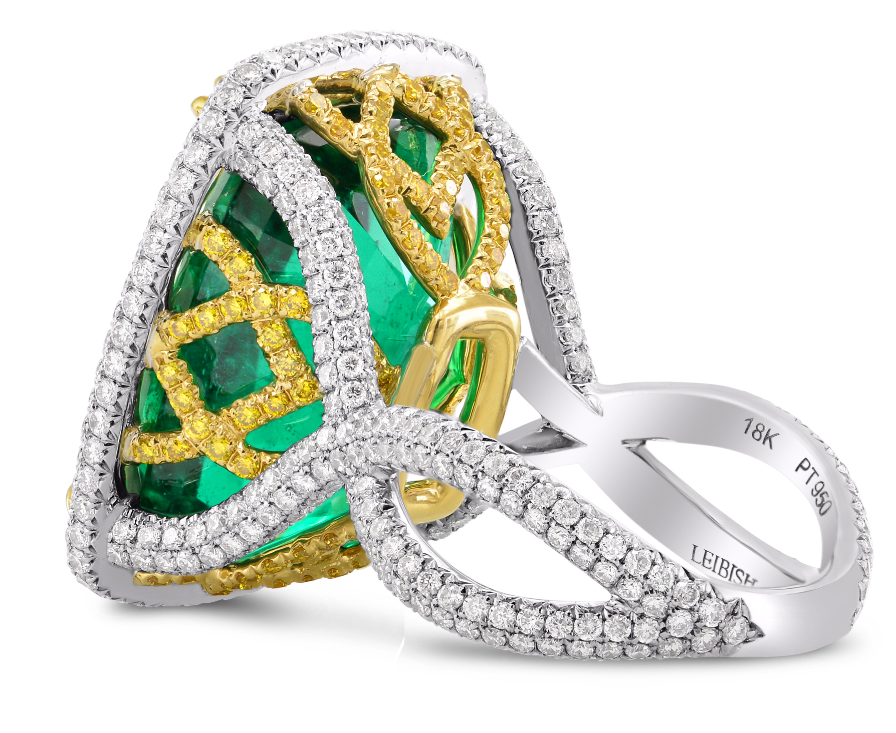 Leibish and Co. for Gemfields cushion emerald and diamond ring | JCK On Your Market