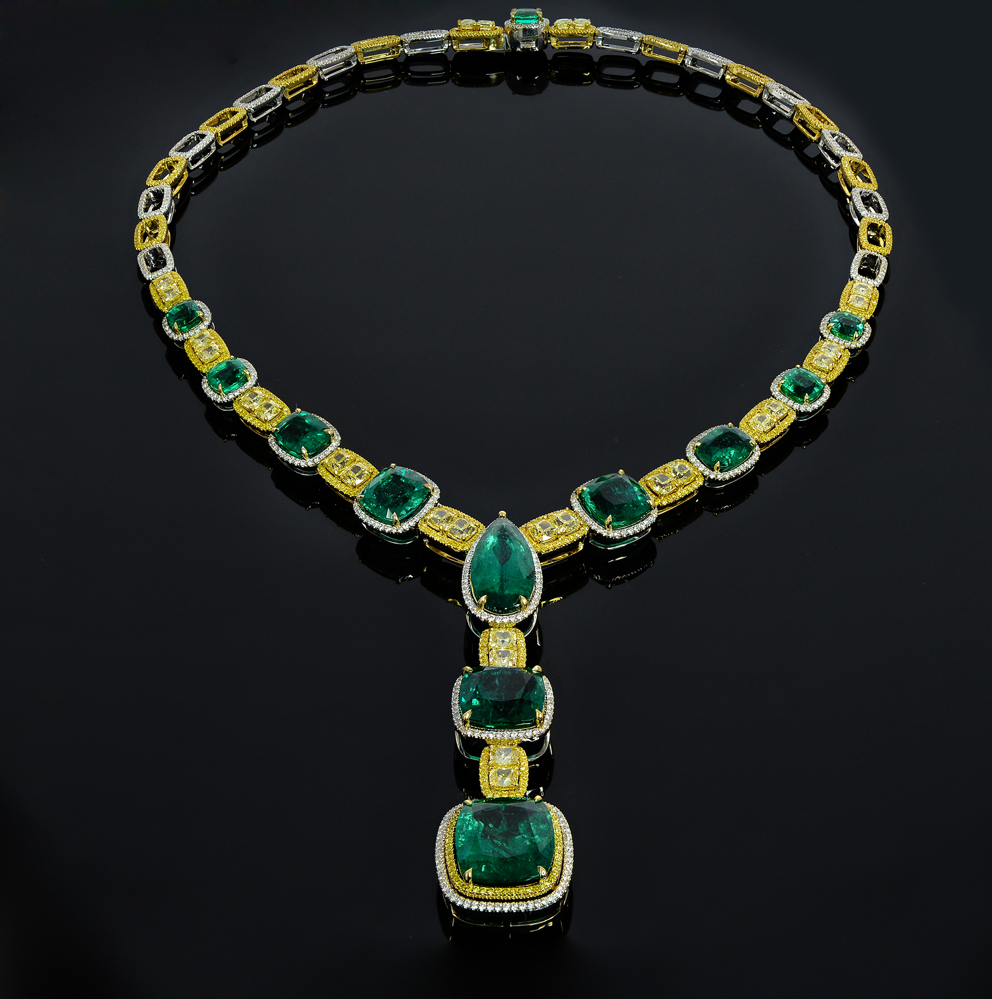Leibish and Co. for Gemfields emerald and yellow diamond necklace | JCK On Your Market