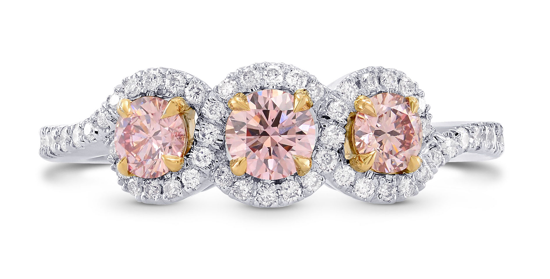 Leibish and Co. Argyle fancy pink diamond three-stone ring | JCK On Your Market