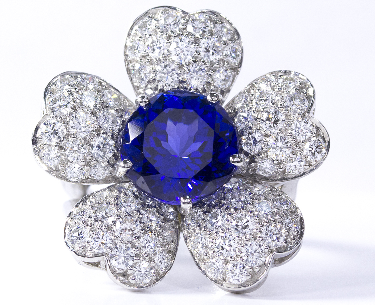 Oscar Heyman tanzanite and diamond flower ring | JCK On Your Market