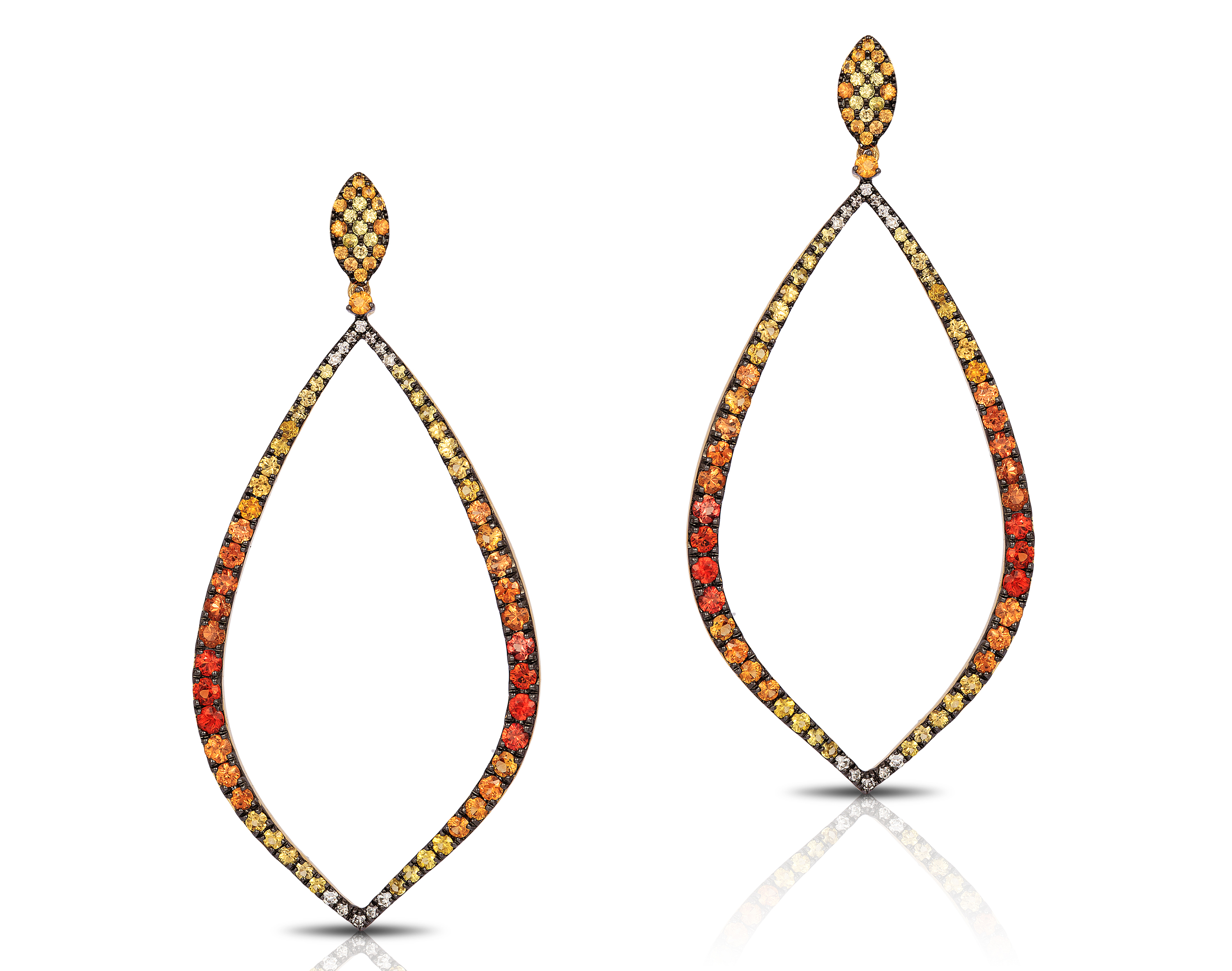 Bassali Jewelry orange and yellow sapphire earrings | JCK On Your Market