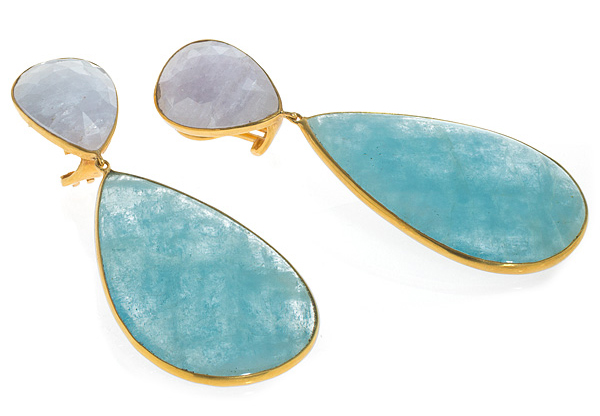 Bahina Jewels gray sapphire and aquamarine earrings | JCK On Your Market