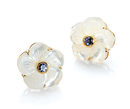 Bahinas Jewels mother-of-pearl and iolite flower earrings | JCK On Your Market