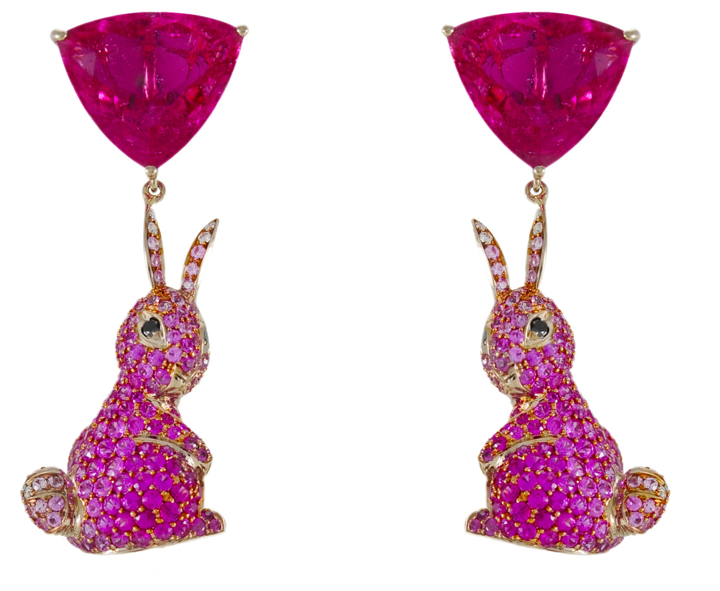 Lydia Courteille hot pink tourmaline bunny earrings | JCK On Your Market