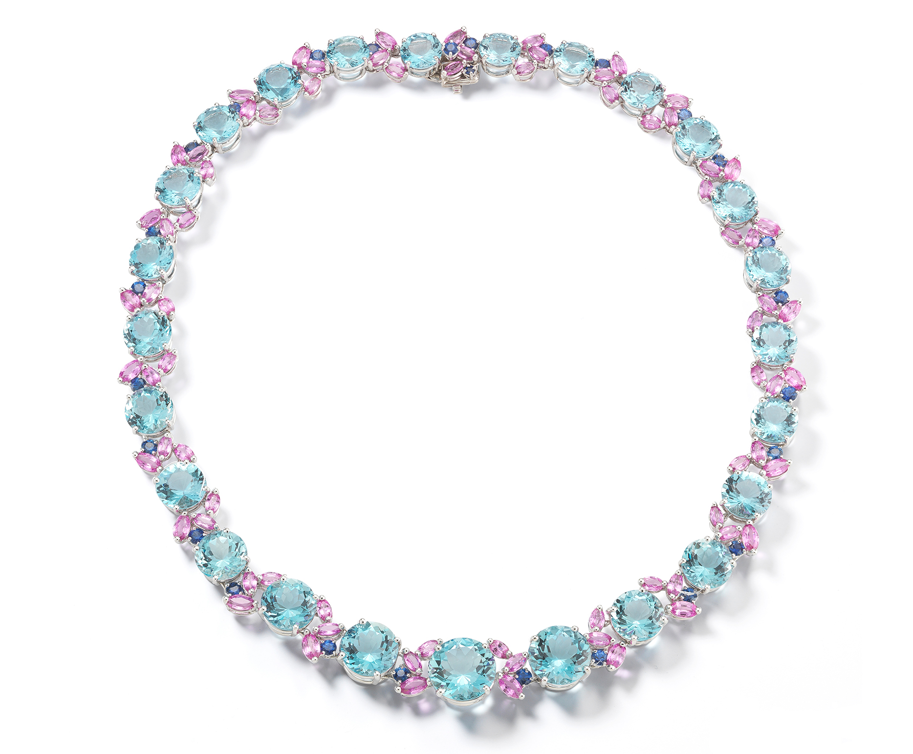 Oscar Heyman platinum aquamarine and sapphire necklace | JCK's On Your Market