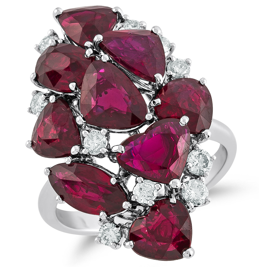 SES Creations ruby and diamond cluster ring | JCK On Your Market