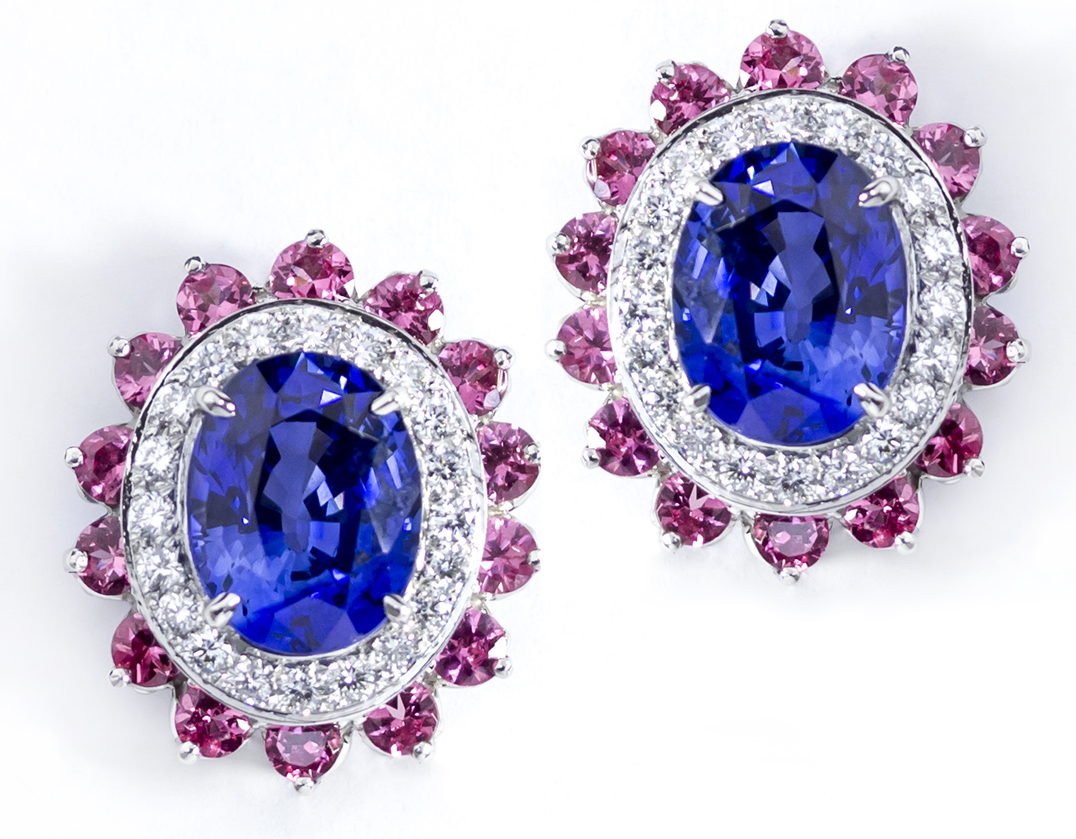 Oscar Heyman platinum sapphire and spinel earrings | JCK On Your Market