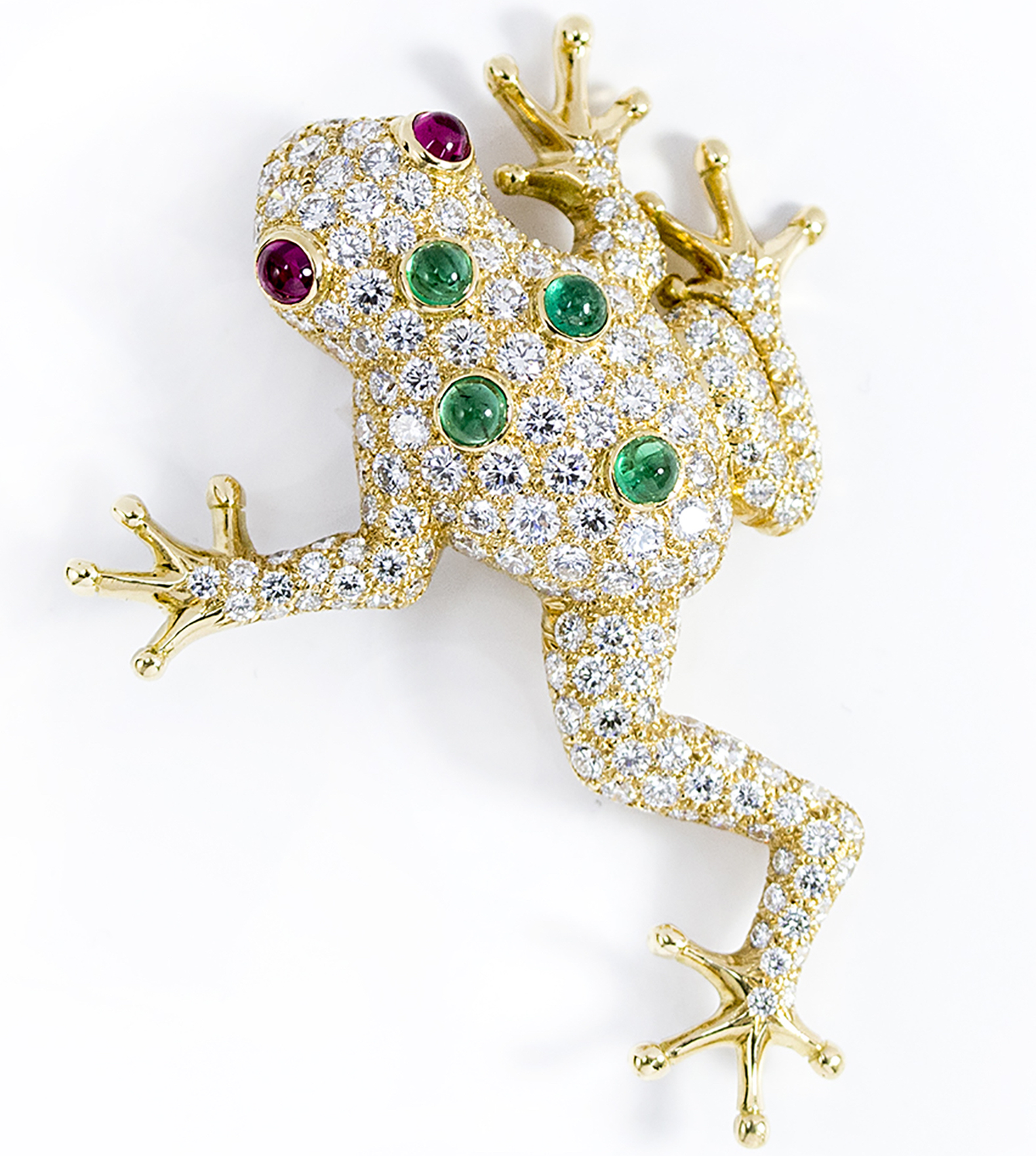 Oscar Heyman ruby, emerald, and diamond frog brooch | JCK On Your Market