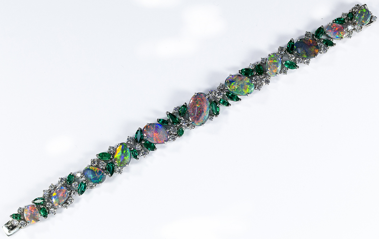Oscar Heyman platinum opal and emerald bracelet | JCK On Your Market