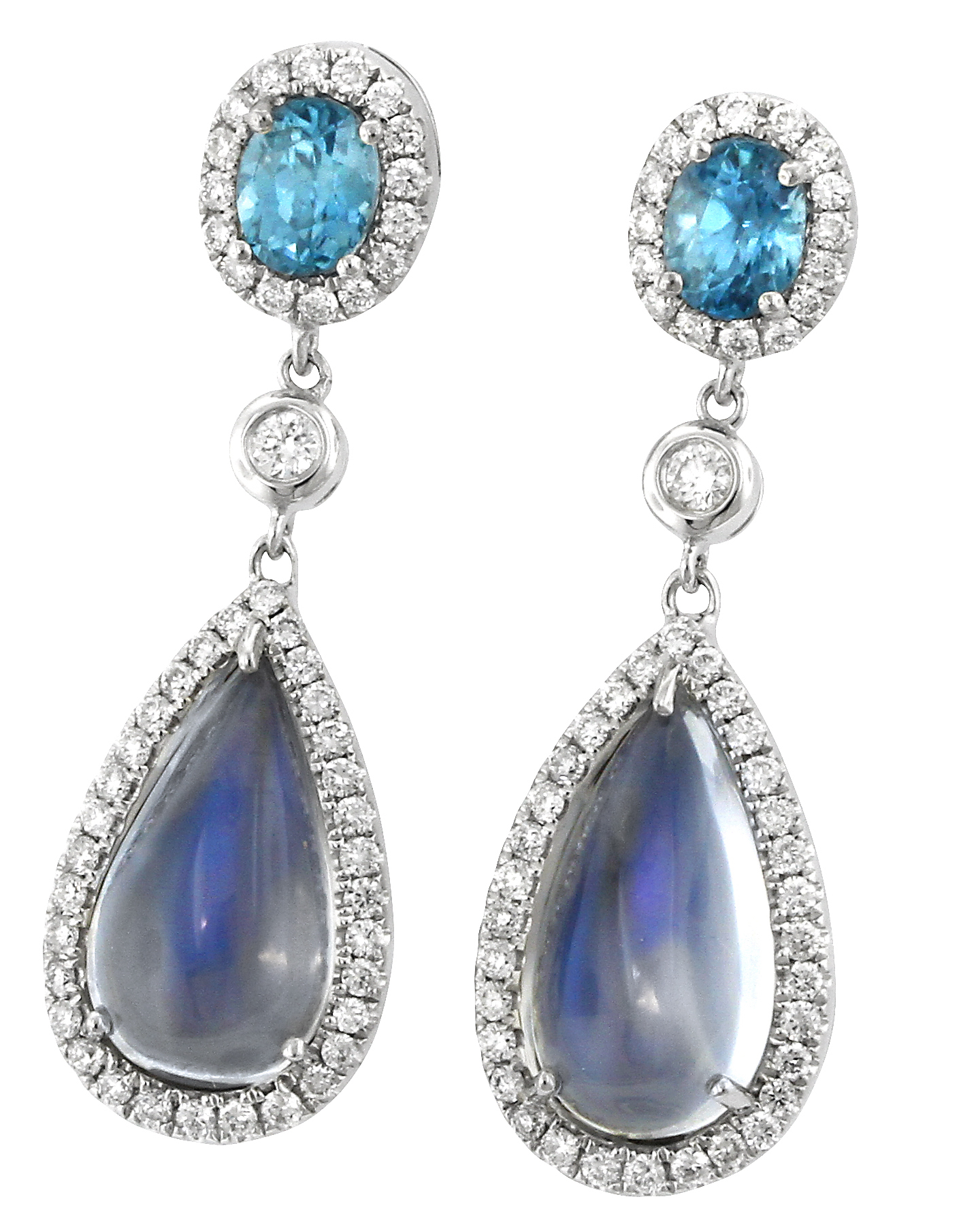 Yael Designs moonstone and blue zircon drop earrings | JCK On Your Market