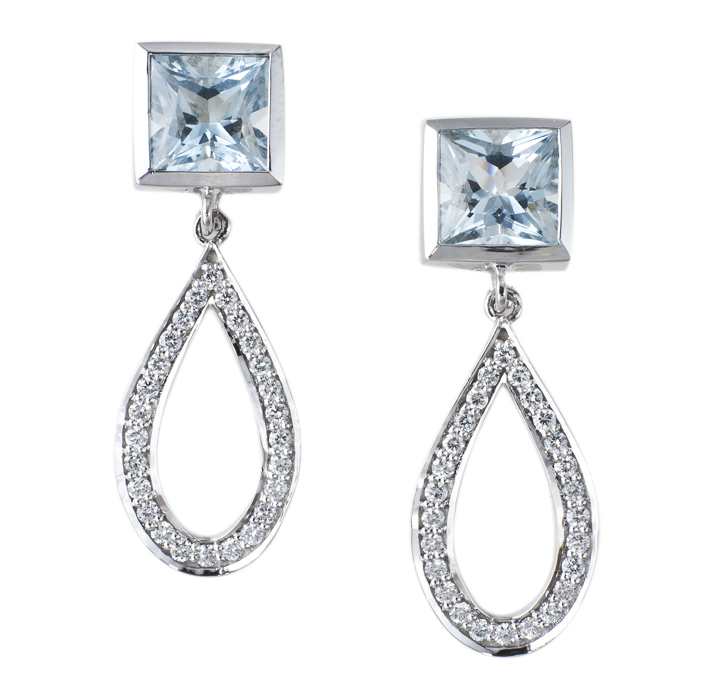 Angela George aquamarine and diamond drop earrings | JCK On Your Market