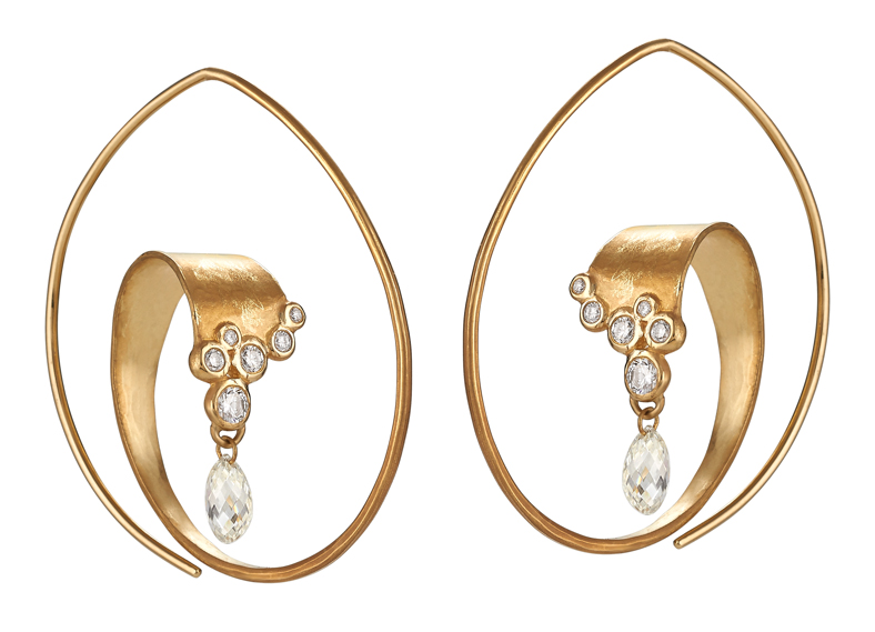 Ayesha curved diamond hoop earrings | JCK On Your Market