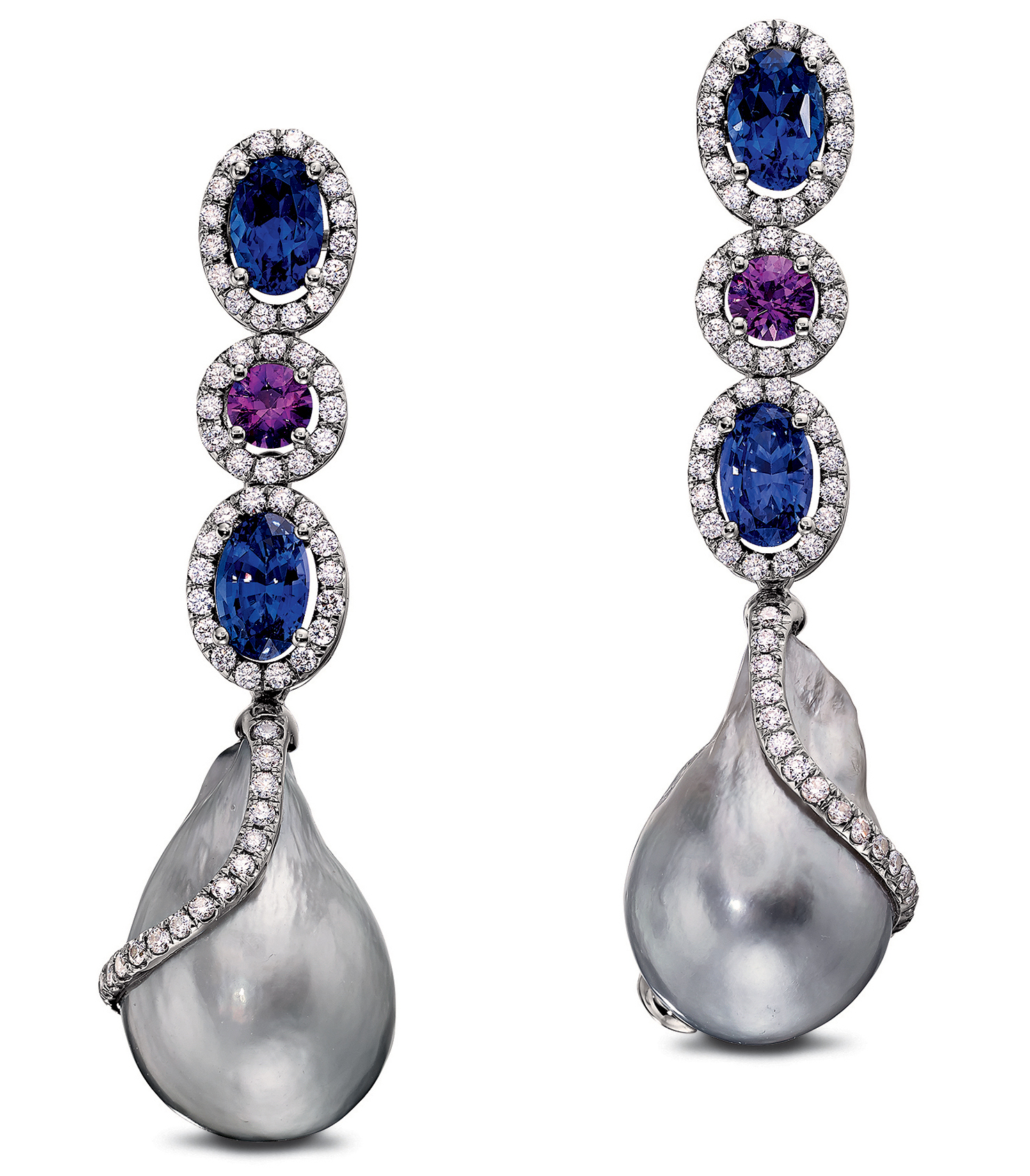 Baggins Tahitian pearl and color change sapphire earrings | JCK On Your Market