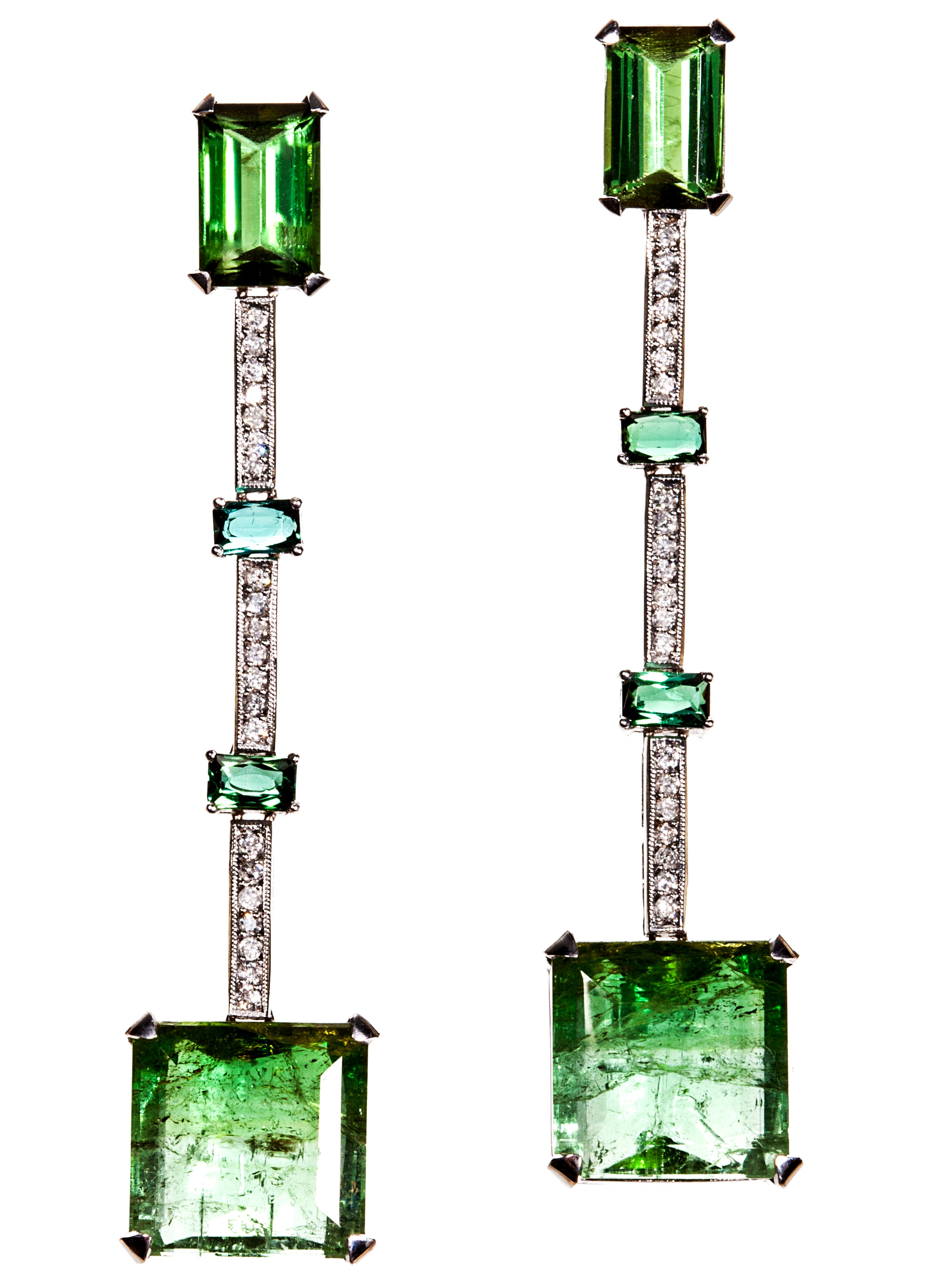 Graziela Gems bicolor green tourmaline earrings | JCK On Your Market