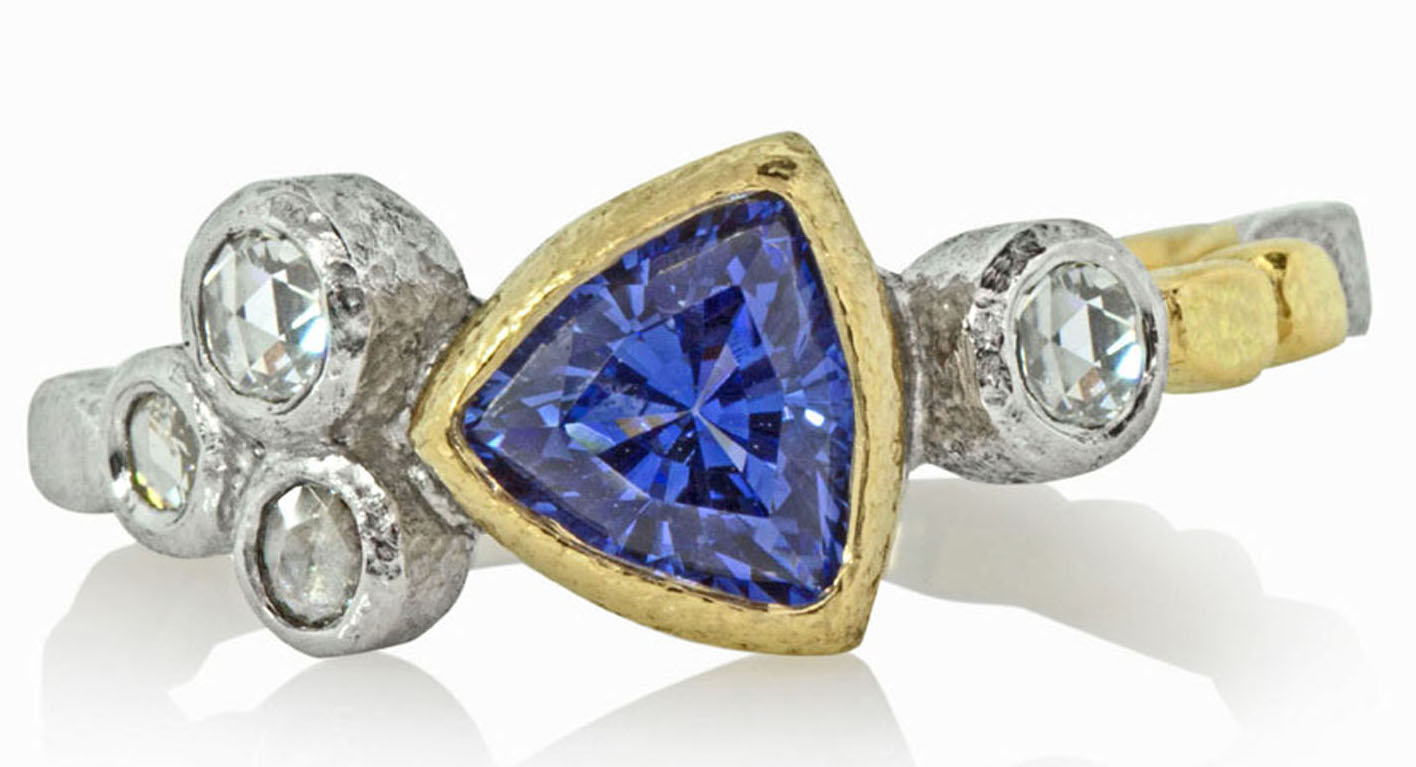 Rona Fisher sapphire trillion Skinny Pebbles ring | JCK On Your Market