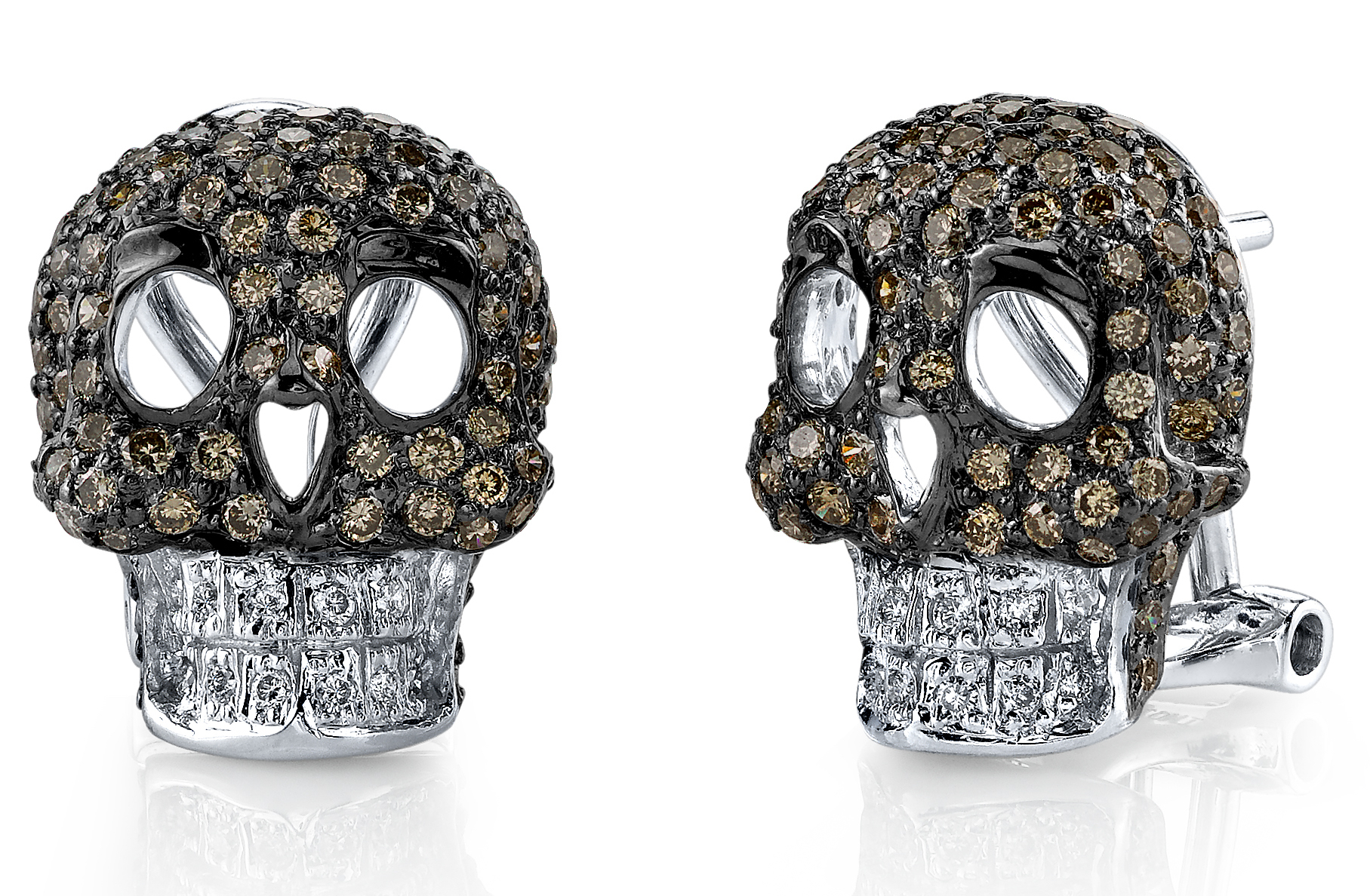 Borgioni brown diamond skull stud earrings | JCK On Your Market