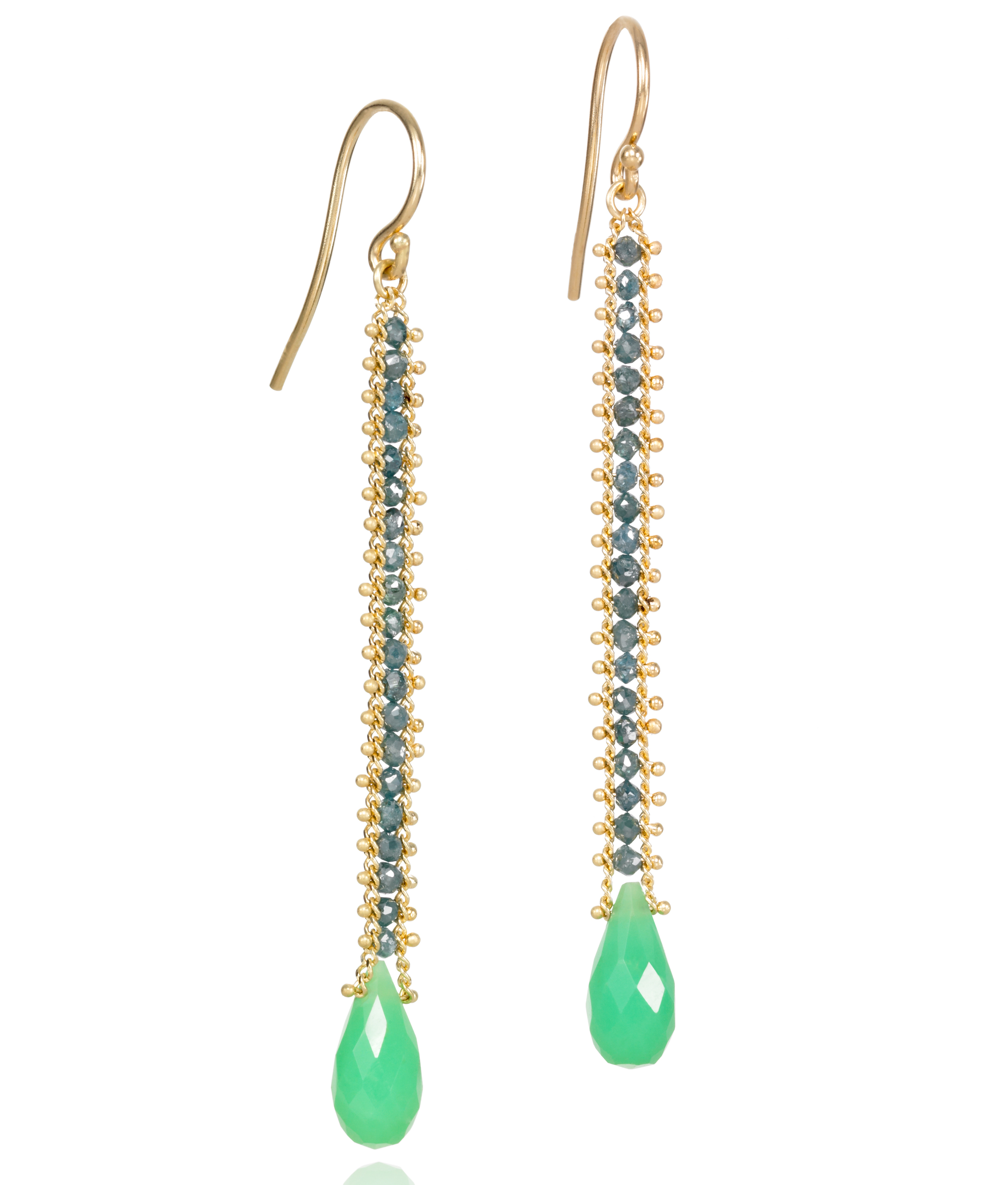 Amali Jewelry chrysoprase and blue diamond line earrings | JCK On Your Market
