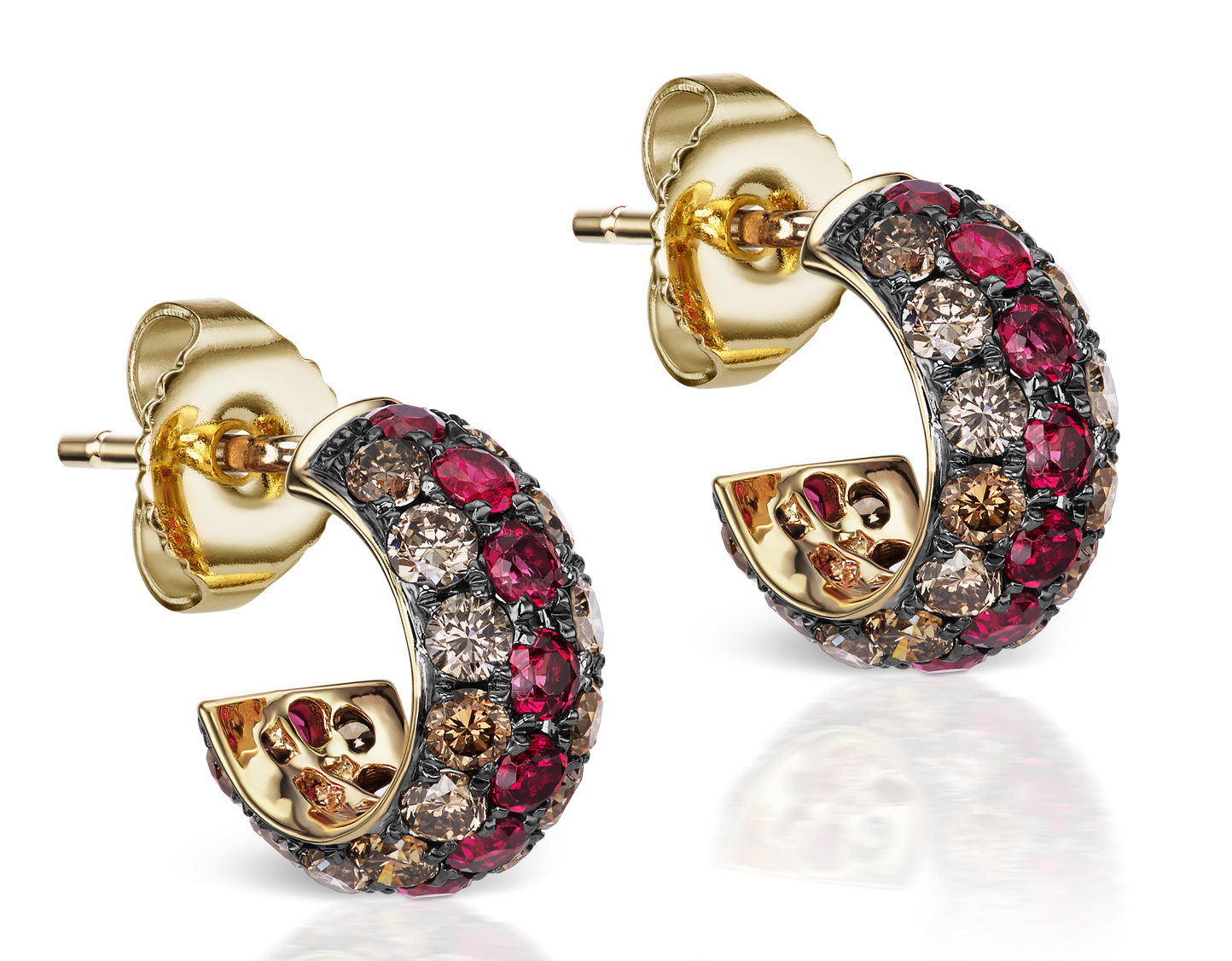 Jane Taylor Jewelry brown diamond and spinel huggie earrings | JCK On Your Market